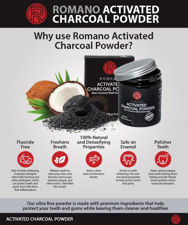 romano activated charcoal powder